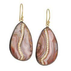 The Clay Pot :: Kothari :: KOTHARI- Laguna Agate Earring With Diamonds--Gorgeous!