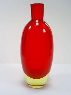 Vintage Murano bright red uranium glass bottle vase.