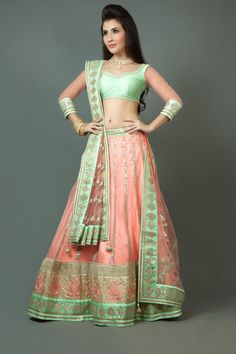 Net ghagra and dupatta with rawsilk blouse embellished with dhori, gota and sequins work. Item number W15-139