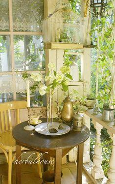 Garden Nook, Garden Spaces, Balcony Garden, Outdoor Areas, Outdoor Rooms, Outdoor Living, Porches, Exterior Design, Interior And Exterior