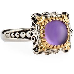 Konstantino Erato Delicate Square Amethyst Doublet Ring ($241) ❤ liked on Polyvore featuring jewelry, rings, purple, bezel set ring, round amethyst ring, purple amethyst ring, konstantino jewelry and square amethyst ring