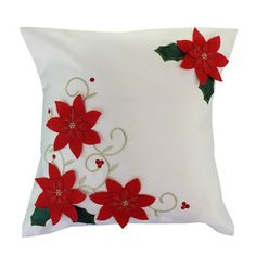 The Holiday Aisle Update your home with this festive Poinsettias Decorative Christmas with Embroidery Design Throw Pillow that will brighten up your home, and will surely add a beautiful touch to your Christmas home decor. Christmas Poinsettia, Christmas Crafts, Christmas Decorations, Aisle Decorations, Primitive Christmas, Country Christmas, Christmas Christmas, Christmas Cushions, Christmas Pillow