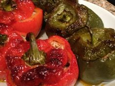 Greek oven charred stuffed peppers from the Greek Vegan. I'll make mine with quinoa instead of rice! Greek Recipes, New Recipes, Vegan Recipes, Cooking Recipes, Vegan Food, Greek Meals, Vegan Ideas, Vegan Main Dishes, Vegetable Dishes