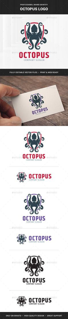 Octopus Logo Template - Animals #Logo #Templates Download here: https://graphicriver.net/item/octopus-logo-template/20406831?ref=alena994