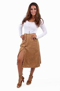 Oh Button It Tan Midi Skirt