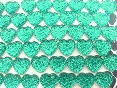 50x 10mm Turquoise Rhinestone Heart Cabochons by CuteCornwall, £2.00