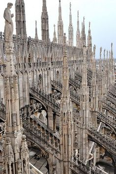 Milan Cathedral is the cathedral church of Milan, Lombardy, Italy. Dedicated to St Mary of the Nativity, it is the seat of the Archbishop of Milan, currently Archbishop Mario Delpini. The cathedral took nearly six centuries to complete. Cathedral Architecture, Classical Architecture, Ancient Architecture, Beautiful Architecture, Beautiful Buildings, Art And Architecture, Architecture Details, French Gothic Architecture, Sustainable Architecture