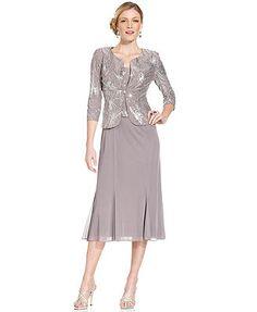 Alex Evenings Petite Sleeveless Sequin Midi Dress and Jacket