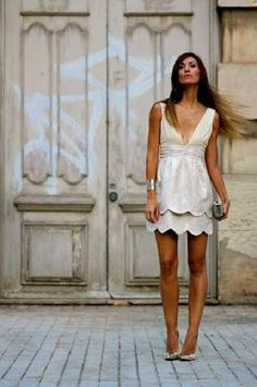 Vestido gasa espalda abierta-Beige