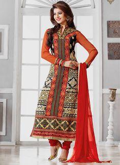 Divine Urvashi Rautela Red & Cream Georgette Churidar Suit