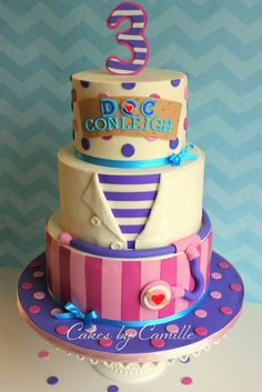 Cutest Doc McStuffins birthday cake! Clean and simple cake design!