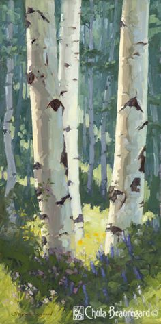 """""""Holding Counsel"""" 24x12 explores the play of light between the aspen in a sun-lit grove."""