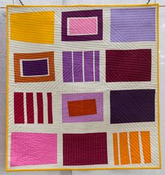 Neighbourhood by Michelle Wilkie, 2014 Easy Quilts, Small Quilts, One Stroke, Quilting Projects, Sewing Projects, Quilting Ideas, Monster High, Modern Quilting Designs, Straight Line Quilting