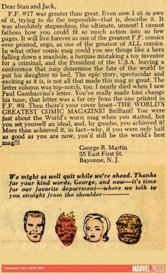 The Letter that Young Game of Thrones Creator George RR Martin Wrote to Stan Lee and Jack Kirby Published in Fantastic Four Number 20 in 1963 when he was 15 years old