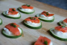 cucumber with smoked salmon appetizer - Am going to use Goat Cheese instead of Greek Yogurt!