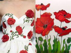 "Fashion & Flowers. Oscar de la Renta S/S 2011 & ""Quartet of Poppies"" by Karla Nolan. Collage by Liliya Hudyakova"