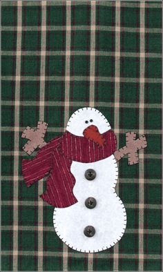P01 Snowman Patternlet- small tea towel pattern using fusible applique.  Christmas and winter quilts.