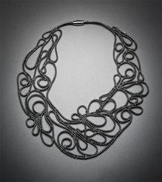 I am such a fan of this statement necklace by Kate Cusack. Made from zippers, this piece is truly a work of art. Available at Mora Collection.
