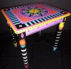 Painted Table by Dodie - Dodie Ortland, Creative Painter & Mural Artist Art Furniture, Funky Furniture, Colorful Furniture, Repurposed Furniture, Furniture Projects, Furniture Makeover, Furniture Design, Furniture Upholstery, Hand Painted Chairs