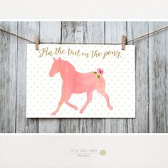 Pin the Tail on the Pony. Pin the Tail Game. Coral and Gold. Horse Birthday Parties, It's Your Birthday, Birthday Ideas, Aurora, Derby Games, Horse Games, Watercolor Horse, Horse Party, Pony Party