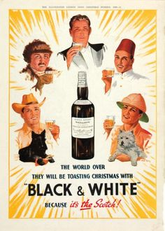 N. Long. The World over they will be toasting Christmas with Black & White. (People making a toast)  355 x 285 mm.  Original chromolithograph, advertisment for the Illustrated London News. 1940.