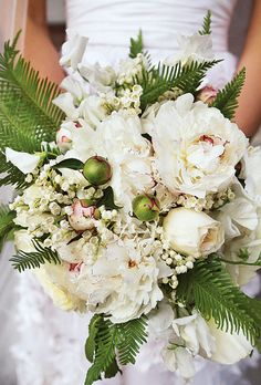 Brides: Sarah & David Philadelphia, PA : lilies of the valley, peonies, and roses - great floral combination!