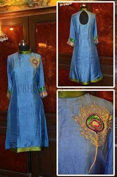 Certified #organic #natural dyed hand embroidered women's long kurta. #BhuSattva - True Essence of Earth (www.store.bhusattva.com)