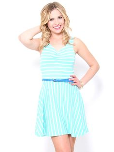 Belted Jersey Skater #Dress in #Mint easily refashion able just by adding a shirt over and a belt(: cute color #stylesforless