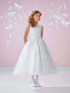 30cdbc9768e Joan Calabrese Style 117334 - Satin and Tulle Dress with Lace Appliques in  Choice of Color
