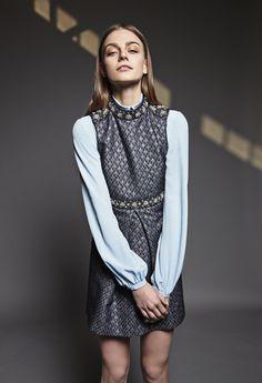 Blue sleeveless printed dress with embroidery and sky blue silk shirt #tara_jarmon #fw1516 #winter #blue #dress #embroidery
