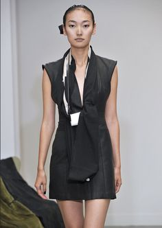 GUSTAVO LINS, COLLECTION 015: leather dress. do please, uniform me.