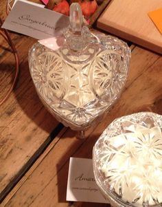 Gorgeous vintage lidded glass pots with Christmas fragrance soy candles, perfect present? £25 in store and soon online