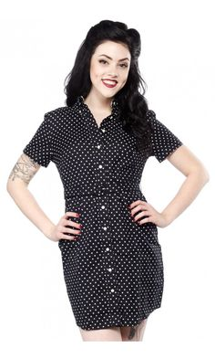 FRED PERRY PIN DOT BELTED SHIRT DRESS BLACK