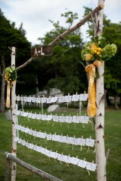 """great idea for escort cards.AND this is from a wedding at mt hope Emalee """" idk what am escort card is but this is a pretty display/ Holder ! Wedding In The Woods, Farm Wedding, Rustic Wedding, Ruby Wedding, Wedding Seating, Wedding Reception, Wedding Ideas, Wedding Stuff, Ideas Bautizo"""