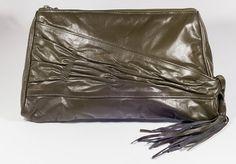 Vintage 1980's olive green tassel bag by Preppytrendy on Etsy