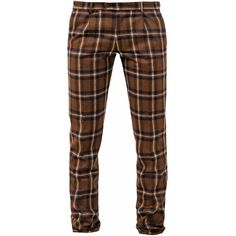 Berwich Rust Check Milano Trousers ($285) ❤ liked on Polyvore featuring men's fashion, men's clothing, men's pants, men's dress pants, mens zipper pants, mens checkered pants, mens zip off pants, mens wool dress pants and mens wool pants