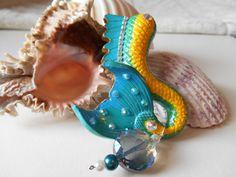 Green Dragon mermaid tail pendant mermaid by TouchofFantasy
