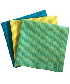 Yellow Blue Green Hand-Woven Cotton Handkerchiefs by Indigomtnartandhome on Etsy