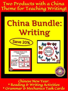 This bundle includes 2 China resources for reading & writing practice or review: Chinese New Year Writing Activities, with reading & writing tasks about the Chinese New Year holiday, & Chinese New Year Task Cards for Mechanics & Grammar, a set of task cards with pictures of the animals of the Chinese Zodiac on them & errors in sentences that students must identify and then correct. Both resources can be used in Social Studies classes as well as in ELA classes. For ELLs & mainstream students.
