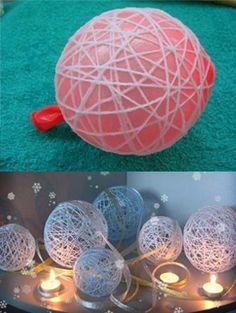 Bolas Decorativas Com Cordão de Barbante Como fazer em: http://receitaartesanato.com.br/bolas-decorativas-com-cordao-de-barbante/