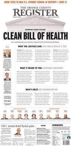 Clean Bill of Health - Newspaper Design