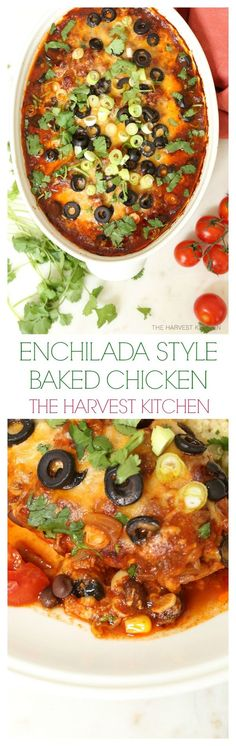 This crowd-pleasing Enchilada Style Baked Chicken is loaded with black beans, corn, tomatoes and a delicious enchilada sauce, and it's about as easy as a chicken recipe gets. @theharvestkitchen.com