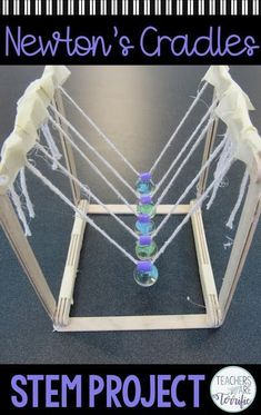 This is the best STEM Challenge for your upper elementary students. Check this post full of tips about trying the resource- Build a Newton's Cradle! education STEM Challenge Newton's Cradle - featuring Newton's Law Stem Projects, Science Fair Projects, Science Experiments Kids, Science For Kids, Physics Projects, Art Projects, Science Today, Life Science, Upper Elementary Resources