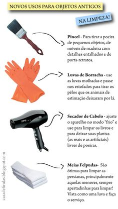 Limpeza! Care Organization, Diy Cleaning Products, Hair Dryer, Clean House, Housekeeping, Home Crafts, Helpful Hints, Personal Care, Tips
