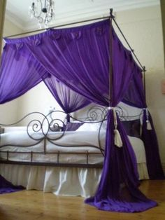 wow, would change the purple fabric though. Love the frame. Four Poster Bed Canopy Mosquito Net Purple Purple Curtains, Canopy Curtains, Purple Bedding, Purple Fabric, Canopy Beds, Gray Bedding, Queen Bedding, Drapery, Purple Home