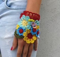 Freeform crochet Jewelry / Bracelet Cuff Floral by kovale on Etsy,