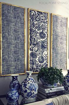 Fabric Wall Art, Diy Wall Art, Wall Art Decor, Fabric Panels, Fabric In Frames, Hanging Fabric On Walls, Home Decor Fabric, Cheap Wall Art, Blue Wall Decor
