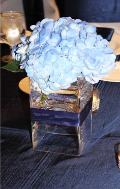 Beautiful blue hydrangea. Makes a lovely centerpiece on a navy blue, satin, linen table.  They bloom throughout the spring and summer and into early fall making them a nice option for weddings and events occurring during those seasons. They have full, lush heads and come in a variety of colors.