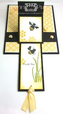 Thank You Bee Waterfall Card Fun Fold Cards, Pop Up Cards, Folded Cards, Waterfall Cards, Diy Crafts For Girls, Bee Cards, Interactive Cards, Easel Cards, Card Tutorials