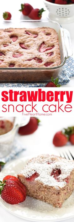 Strawberry Snack Cake ~ soft, moist, and easy to make, loaded with sweet, ripe strawberries, creamy buttermilk, and a shower of powdered sugar on top!   FiveHeartHome.com